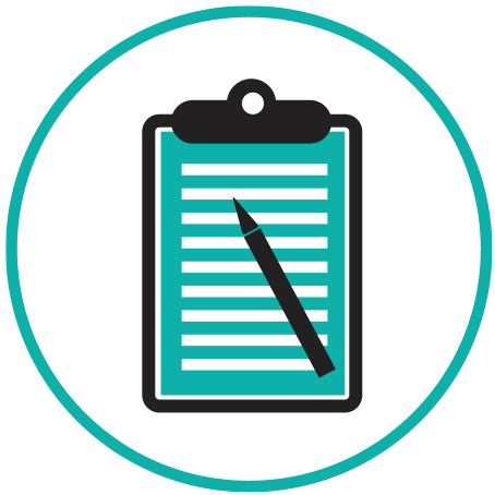 Training icon with clipboard and pencil