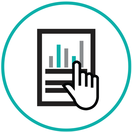 User Testing Icon with page and graphs with hand icon